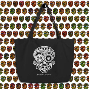 """Dia de los Muertos"" Large 100% organic cotton black canvas bag - Wipaka Designs"
