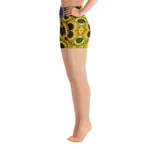 YELLOW SUNFLOWERS Yoga Shorts - Wipaka Designs