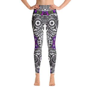 SUGAR SKULL Purple Fractals Yoga Leggings - Wipaka Designs