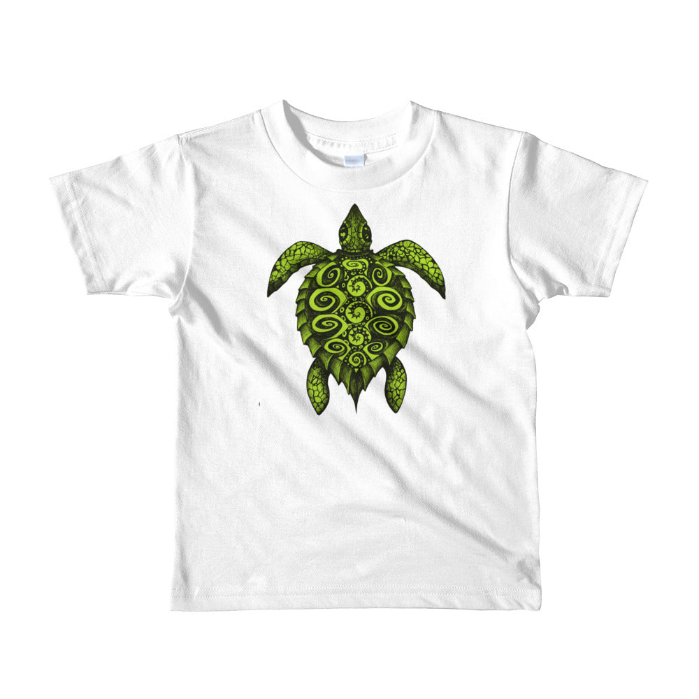 TURTLE PROTECTOR green on white Kid's T-Shirt - Wipaka Designs