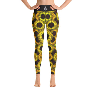 SUNFLOWERS spiral Yoga Leggings - Wipaka Designs