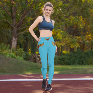 """FLYING HEART"" Yoga Leggings blue - Wipaka Designs"