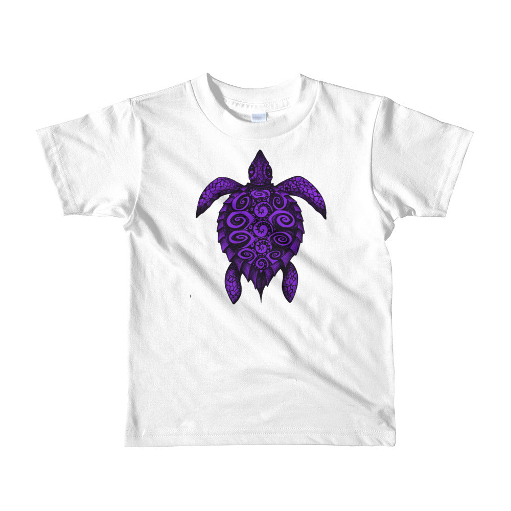 TURTLE PROTECTOR purple on white Kid's T-Shirt - Wipaka Designs