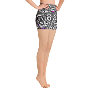 Yoga Shorts sugar skull fractal purple - Wipaka Designs