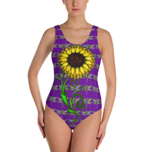 Sunflower purple dragonfly One-Piece Swimsuit - Wipaka Designs