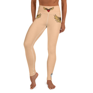 """FLYING HEART"" Yoga Leggings nude - Wipaka Designs"
