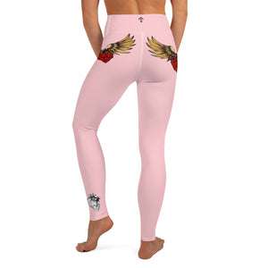 """FLYING HEART"" Yoga Leggings pink - Wipaka Designs"