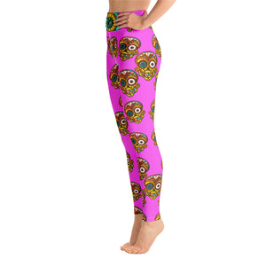 SUGAR SKULL Pink Yoga Leggings - Wipaka Designs
