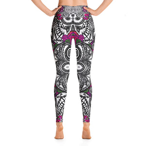 SUGAR SKULL Magenta Fractals Yoga Leggings - Wipaka Designs