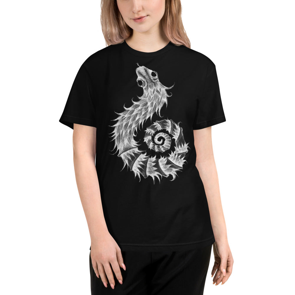 FEATHERED SERPENT black and white Eco Tee - Wipaka Designs