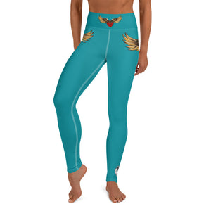 """FLYING HEART"" Yoga Leggings turquoise - Wipaka Designs"