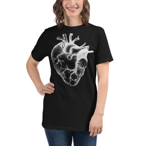 GIANT HEART WHITE INK black Organic T-Shirt - Wipaka Designs