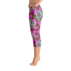 SUGAR SKULL Pink Capri Leggings - Wipaka Designs