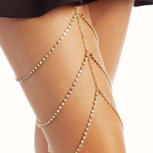 Body Chain - Rhinestone Jeweled Thigh Harness