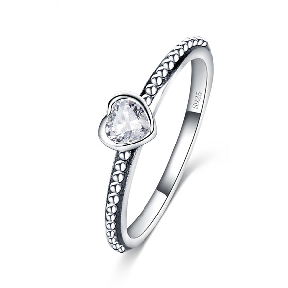 925 Sterling Silver Love Heart Romantic Ring