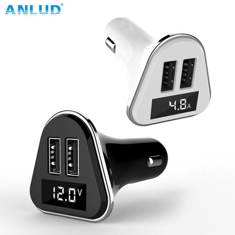 Anlud  Dual USB Universal ABS+PC LED Screen Car Charger with Volatge Display