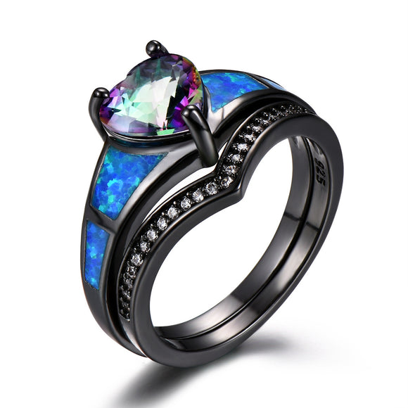 Heart Fire Opal Rings For Women Vintage Fashion Jewelry Engagement Black Gold Filled Rainbow Blue Birthstone Ring
