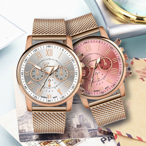 Ladies Watches Luxury Chic Quartz Sport Military Stainless Steel Dial Leather Band Wrist Watch montre femme marque de luxe 2019