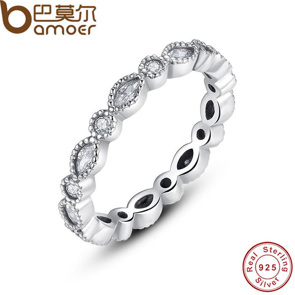 BAMOER 925 Sterling Silver Alluring Brilliant Marquise Stackable Finger Ring PA7130