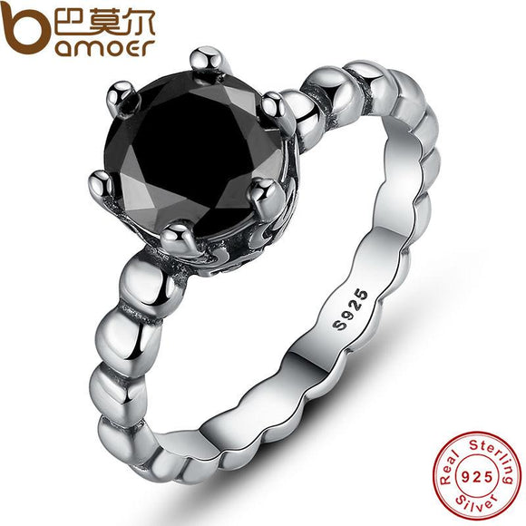 BAMOER 925 Sterling Silver Ring with Black Cubic Zirconia PA7109