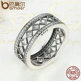 BAMOER 925 Sterling Silver Square Vintage Fascination, Clear CZ Big Ring PA7601
