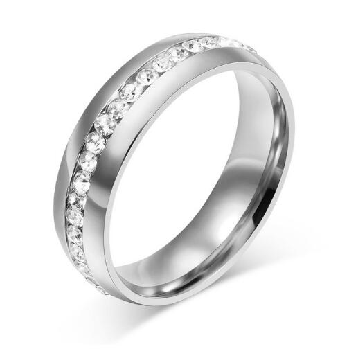 crystal wedding ring for women 6mm stainless steel engagement