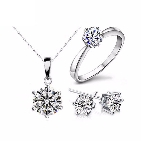 Silver Color Fashion Jewelry Sets Cubic Zircon Statement Necklace & Earrings Rings Wedding Jewelry for Women Gift