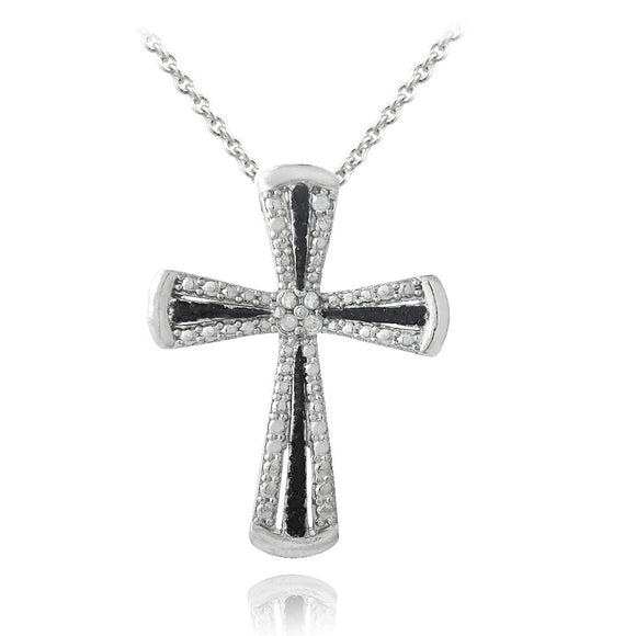 1/10ct Black & White Diamond Accent Ribbon Cross Necklace