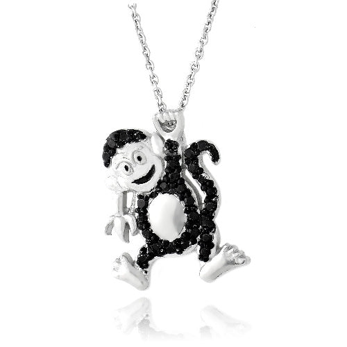 Black Diamond Accent Monkey Necklace
