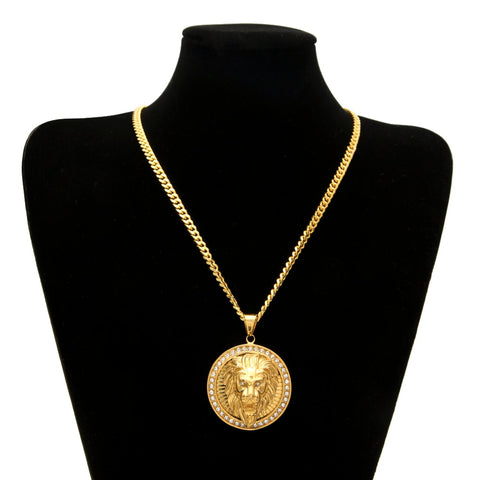 Mens Hip Hop Jewelry Iced Out Gold Color Fashion Bling Bling Lion Head Pendant Men Necklace Gold Color For Gift/present