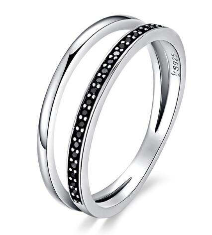BAMOER 925 Sterling Silver Double Circle Black Clear CZ Stackable Finger Ring SCR082