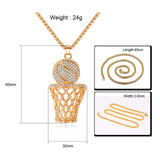 Men's Necklace Ice Gold Basketball And Hoop Necklace Gold Silver Steel Chain Pendant Long Chain Necklace Sport Cell Gift