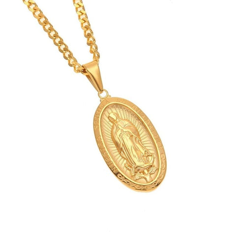 Catholic Religious Virgin Mary Necklace Pendant Stainless Steel Gold Color Cross Medallion Necklace