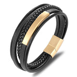 Classic Genuine Leather Bracelet For Men Hand Charm Jewelry Multilayer Magnet Handmade Gift For Cool Boys