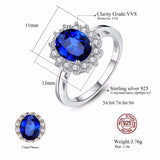 Princess Diana William Kate Gemstone Rings Sapphire Blue Wedding Engagement 925 Sterling Silver Finger Ring for Women