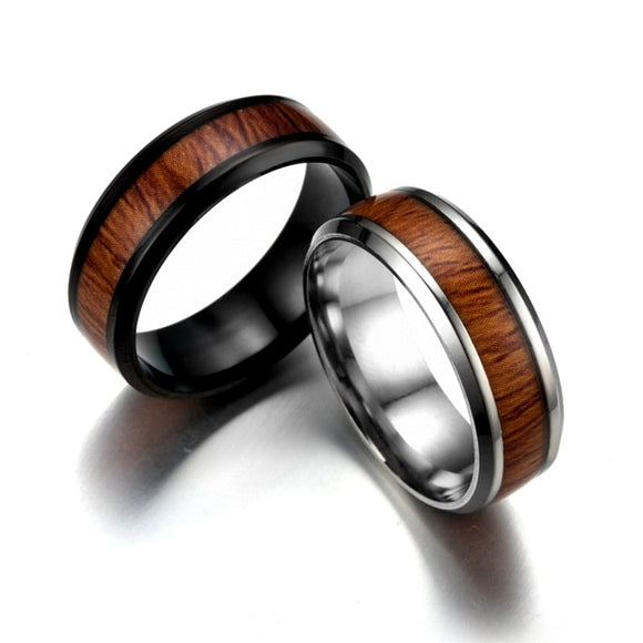 Vintage stainless steel wood rings for men good quality
