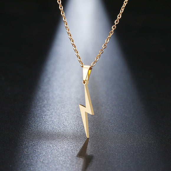 Stainless Steel Lightning Bolt Necklace Pendant for Women  Men Scar Necklace