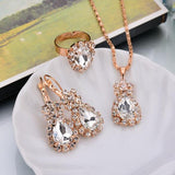 Water Drop Shape Earrings Necklace Rings Jewelry Sets