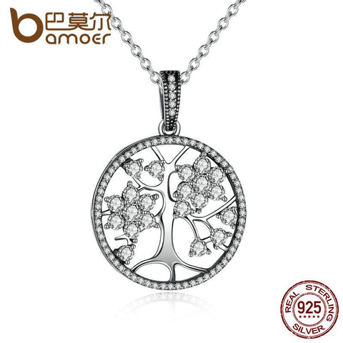 BAMOER 925 Sterling Silver Tree of Life Round Pendant Necklaces PSN013