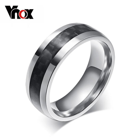 Vnox men ring carbon fiber jewelry