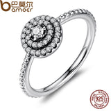 BAMOER 925 Sterling Silver Round Shape Radiant Elegance, Clear CZ Flower Finger Rings PA7178