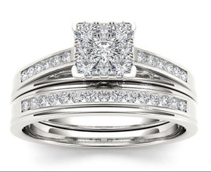 Classic Sterling Silver Princess Cut Wedding/Engagement Set