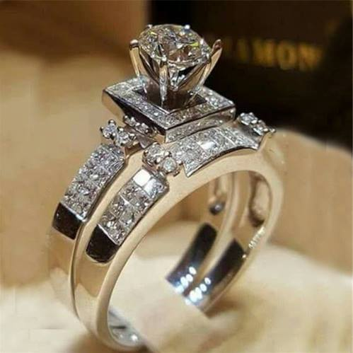 Elegant Wedding Engagement Rings Set 2 PCS Sterling Silver With Full Shiny CZ