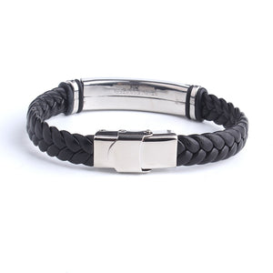 Engrave Leather Love Bangle & Bracelet 316L Stainless Steel Bracelets For Women Men ID Bracelet Jewelry