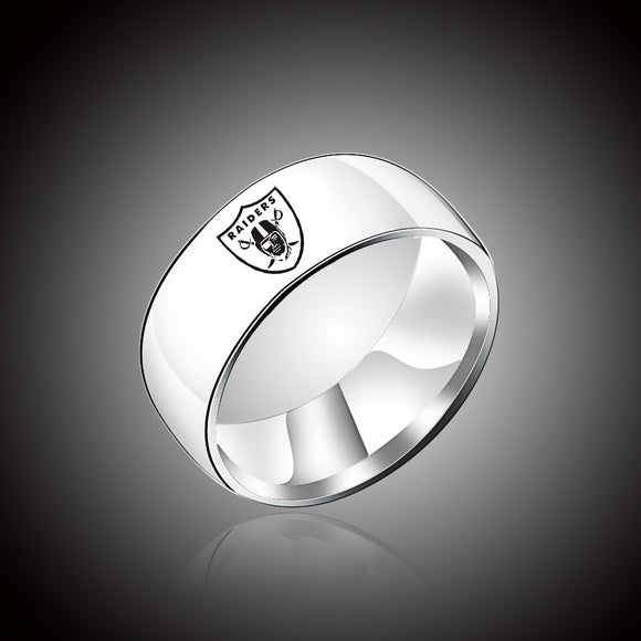 Design Oakland Raiders Team Logo Rings Black Titanium Steel FOOTBALL Championship Ring Jewelry