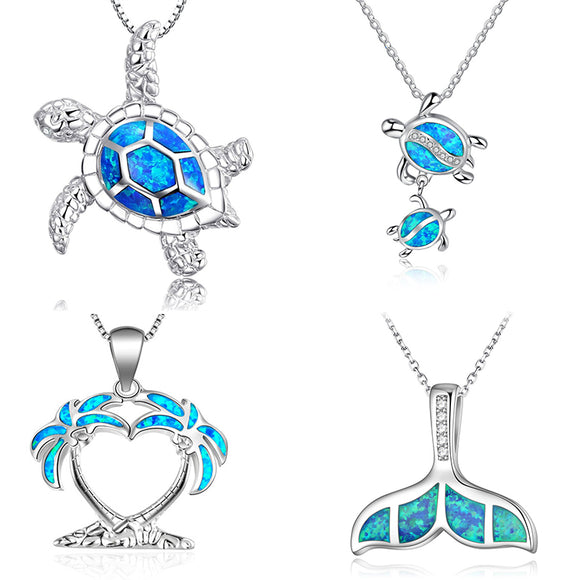 Silver Filled Blue Sea Turtle Pendant Necklace for Women