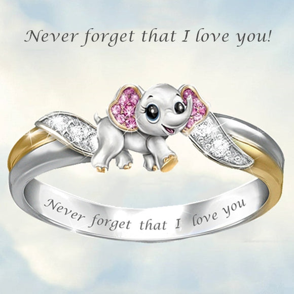Never Forget I Love You Silver Cute Pink Elephant Crystal Zircon Engagement Ring Accessories Lover's Gift Anniversary Jewelry