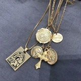 Vintage 4 Set Separable Chain Multi Layer Pendant Choker Necklaces Virgin Mary Jesus Cross Totem Square Jewelry Gift