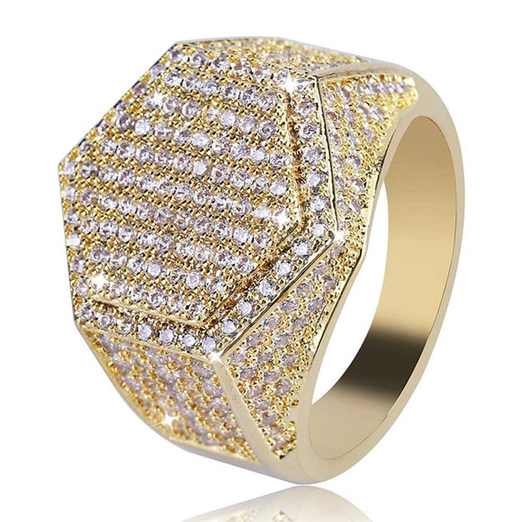 Hip Hop Fashion Rings Copper Gold Silver Color Iced Out Bling Micro Pave Cubic Zircon Geometry Ring Charms For Men gift