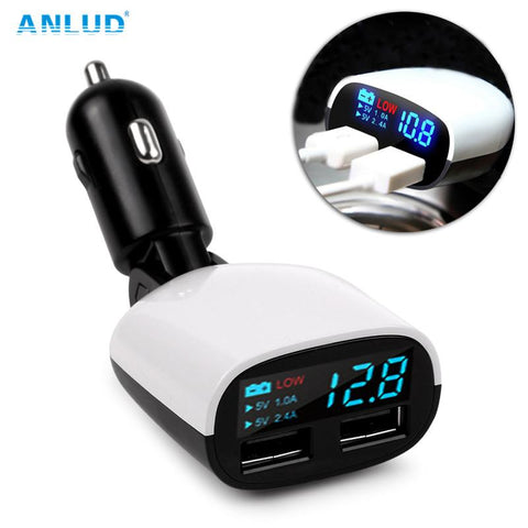 ANLUD Universal Dual USB Car Charger LED Screen 3.4A Cars Voltage Monitoring Display - DRE's Electronics and Fine Jewelry: Online Shopping Mall